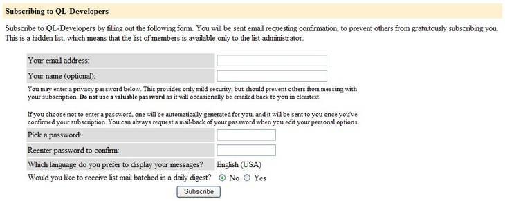 Fig.2 The QL-Developers list subscription form