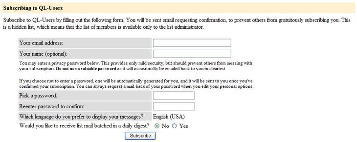 Fig.1 The QL-Users list subscription form