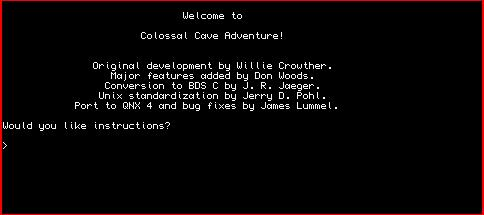 Screen dump of opening screen of Colossal Cave adventure for QL