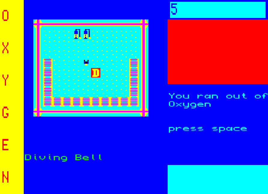 Screen dump from Wreck Dive game for QL